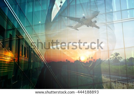 Double Exposure of BusinessMan Hold Tablet and Train, Airplane as Business Transportation, Business Travel or Logistics Concept.  - stock photo