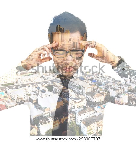 Double exposure of businessman thinking  - stock photo