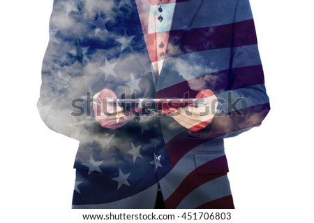 Double Exposure of Businessman with Cloud and America Flag as American Election or Politic concept - stock photo