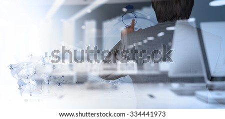 double exposure of businessman working with modern technology as concept - stock photo