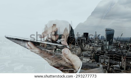Double exposure of businessman working with new modern computer and london city background as concept - stock photo