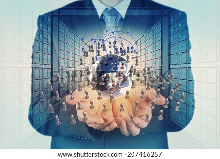 Double exposure of businessman working with new modern computer show social network structure  - stock photo