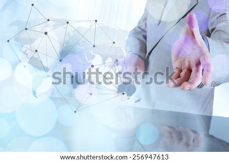 Double exposure of businessman working with new modern computer show social network structure and bokeh exposure - stock photo