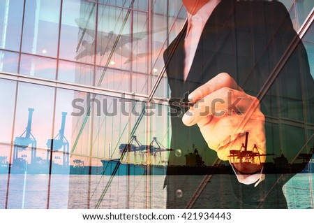 Double Exposure of Businessman writing and Port Cargo and Airplane as International Transportation Business concept - stock photo