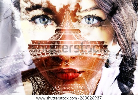 Double exposure of closeup girl portrait and Eiffel Tower. - stock photo