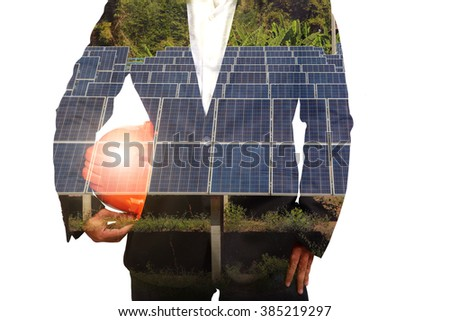 Double exposure of  engineer and Solar cells power white background - stock photo