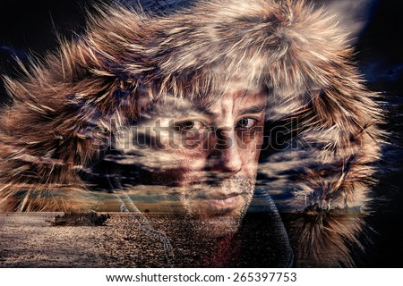 Double exposure of fisherman and seascape. - stock photo