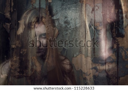 double exposure of ghost girl in abandoned building - stock photo