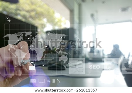 Double exposure of hand close up shows modern technology as internet security concept - stock photo