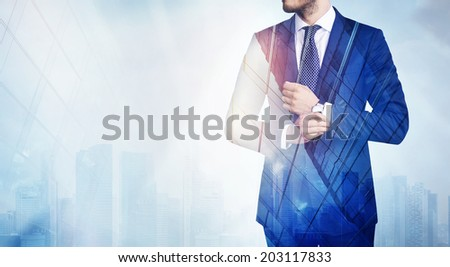 Double exposure of man and city - stock photo