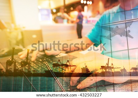 Double Exposure of Man with Laptop computer in Food Plaza or Coffee shop and Transportation Scene, airplane, Port with Power Crane. - stock photo