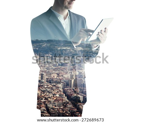 double exposure of man with tablet - stock photo