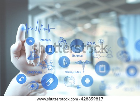 double exposure of Medicine doctor hand working with modern computer interface as medical concept - stock photo