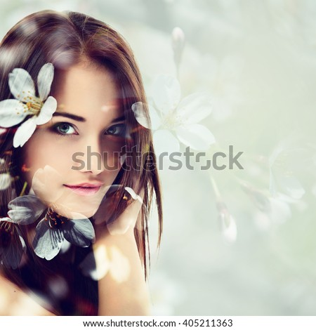 Double exposure of portrait of young beautifu girl and blooming cherry flowers. Youth and freshness concept. - stock photo