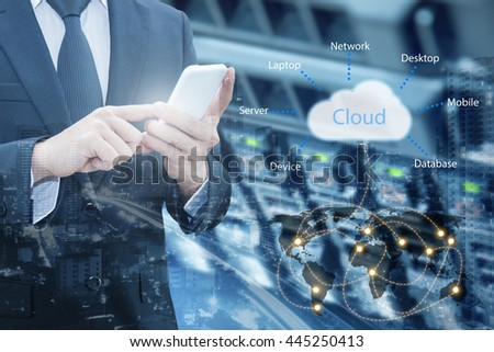 Double exposure of professional businessman connecting cloud internet smart phone with servers technology and connect world network in IT Business concept, element of this image furnished by NASA - stock photo