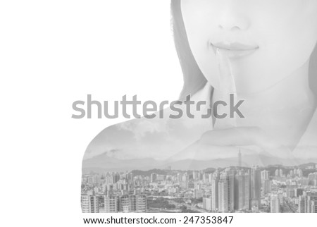 double exposure of silent sign with gesture by business woman - stock photo