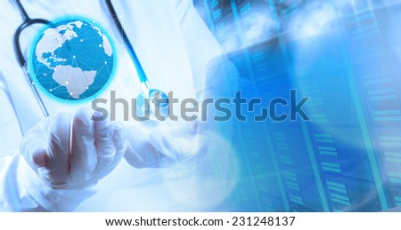 Double exposure of smart medical doctor holding the world with operating room as concept  - stock photo