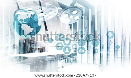 Double exposure of smart medical doctor working with abstract operating room as concept  - stock photo