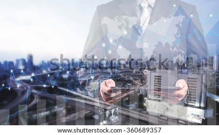 Double exposure of success businessman using digital tablet with city landscape background.Forex graph oon the business city centre. A metaphor of international financial consulting.investment concept - stock photo