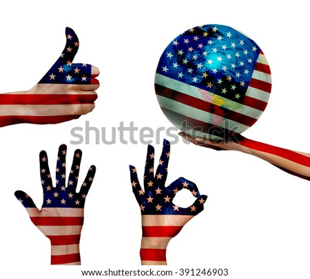 Double exposure of USA flag over the human hands - stock photo