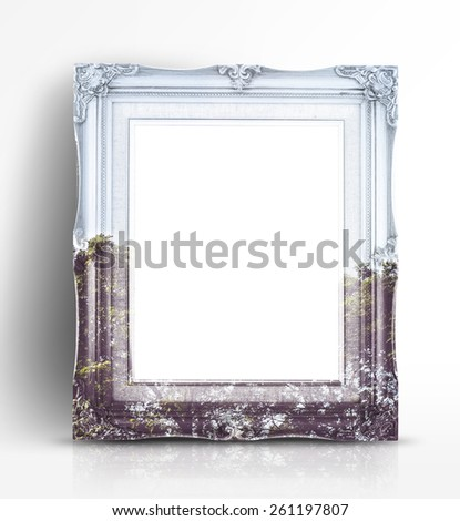 Double exposure of Vintage photo frame and tree landscape view in white studio room, Double Exposure concept - stock photo