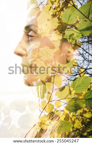 Double exposure of woman combined with photograph of leaves - stock photo