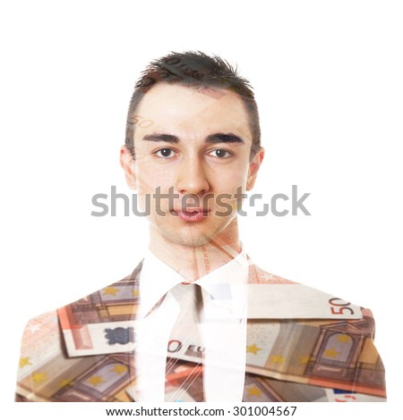double exposure of young business man and euro bank notes       - stock photo
