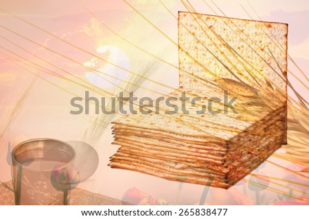 Double exposure - Passover matzoh  (matzah or matzo), kiddush cup of wine,egg - Traditional jewish Passover (Pesach) celebration and nature elements (sunset, blossoming flowers, wheat ears  - stock photo