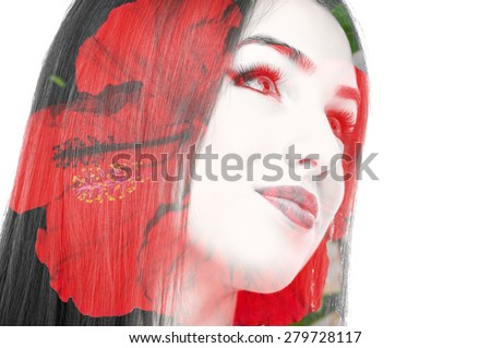 Double exposure photo of a young woman and red flower - stock photo