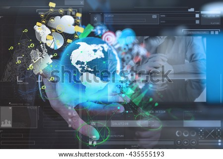 double exposure photo of businessman shows modern technology of business as concept - stock photo