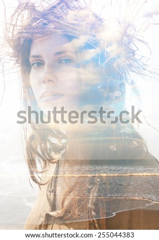 Double exposure portrait of a girl with wreath combined with photograph of a beach - stock photo