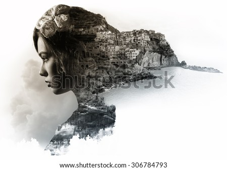 Double exposure portrait of a woman and view of Manarola. La Spezia, Liguria, northern Italy. Toned image