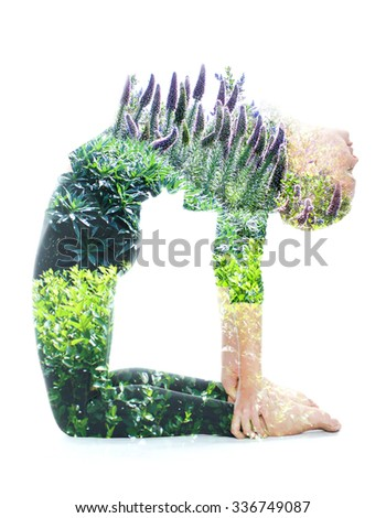Double exposure portrait of a young woman performing yoga asana, combined with photograph of nature - stock photo