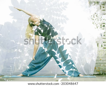 Double exposure portrait of attractive woman performing yoga asana combined with photograph of plant - stock photo