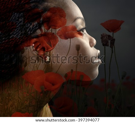Double exposure portrait of beautiful woman. Beauty portrait of young african woman in profile with summer poppy flowers over dark gray background - stock photo