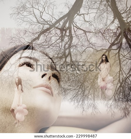 Double exposure portrait of beautiful women - stock photo
