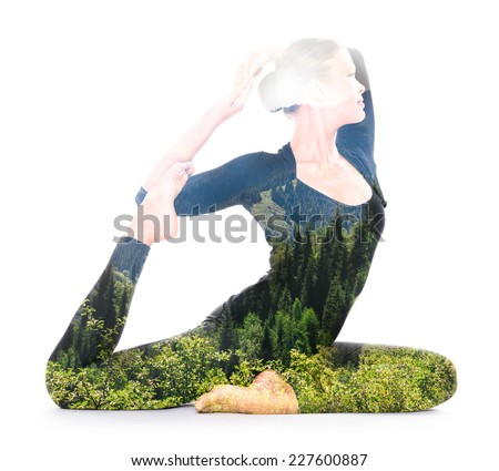 Double exposure portrait of woman performing yoga asana reflects unity of human and nature - stock photo
