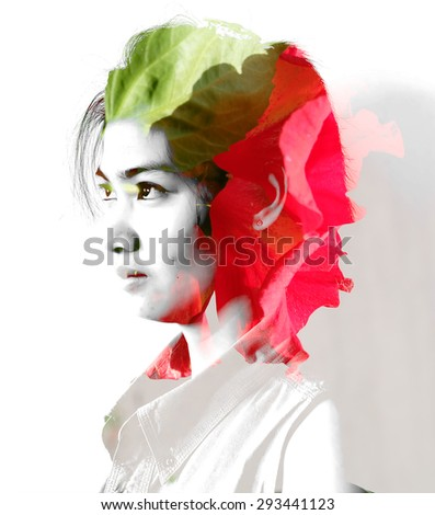 Double exposure portrait of young woman with rose flowers. - stock photo