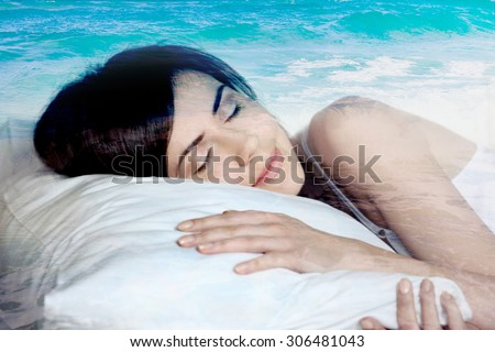 double exposure  sleeping girl and blue ocean, dreams of the sea - stock photo