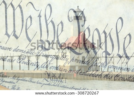 Double exposure St. Joseph north pier lighthouse along shoreline of Lake Michigan with US constitution background - stock photo