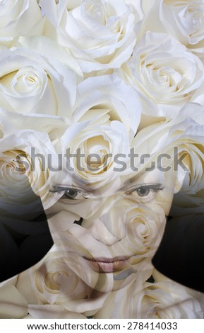 Double exposure woman and roses - stock photo