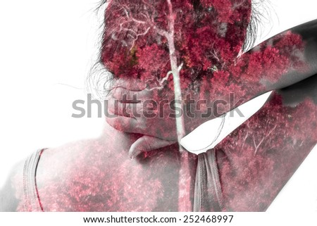 Double exposure woman massaging neck from woman portrait and red nature background.  - stock photo