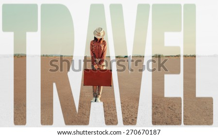 Double exposure word travel combined with image of traveler woman with suitcase on road. Concept of travel - stock photo