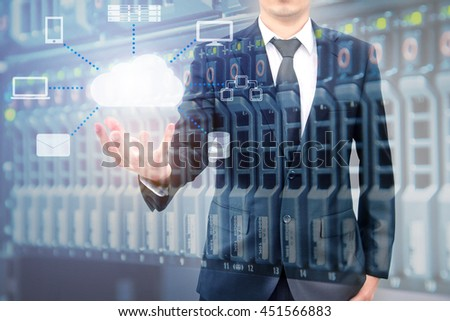 Double expoure of professional businessman connecting cloud technology on hand with cloud and sky in Technology, Communication and business concept - stock photo