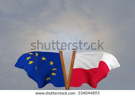 Double flags European Union and Poland , joined on v-shaped wooden pole - stock photo