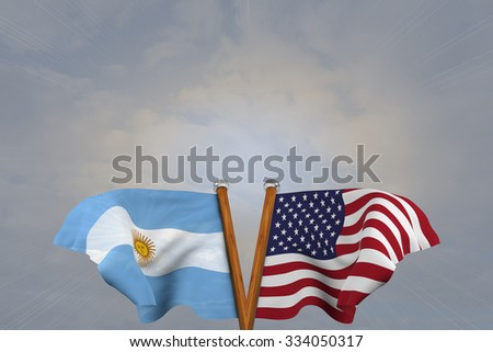 Double flags USA and Argentina,  joined on v-shaped wooden pole - stock photo