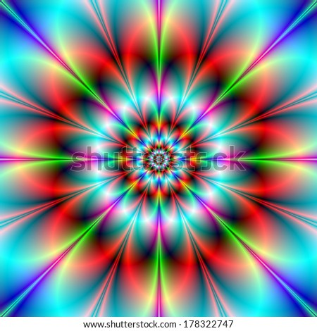 Double Flower / Digital abstract fractal image with an infinity flower design in blue, red, pink and green. - stock photo