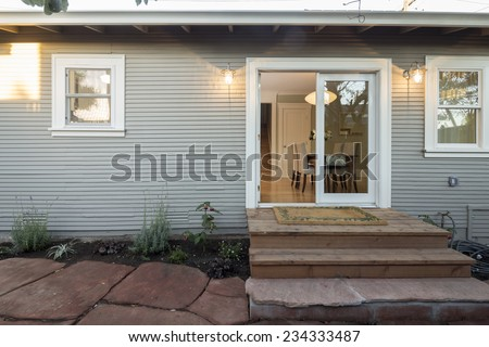 Double french door leading to outdoors.  - stock photo
