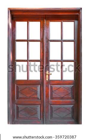 Double glazed wooden door isolated on white background - stock photo