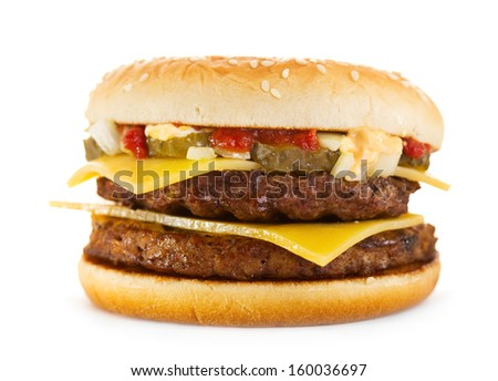 double hamburger on white background - stock photo